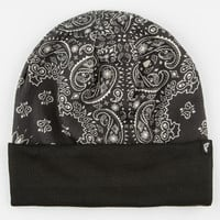 Famous Stars & Straps Double Life Cuff Beanie Black/White One Size For Men 24640412501