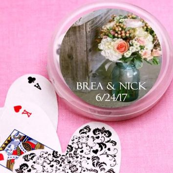 12 Mason Jar Bridal Shower and Wedding Deck of Cards Favors