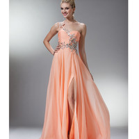 (PRE-ORDER) 2014 Prom Dresses - Peach Beaded One Shoulder Sweetheart Dress