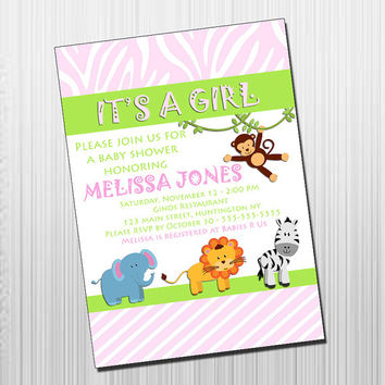 Baby Shower Invitation - DIY Printable Jungle Baby Shower Invitation