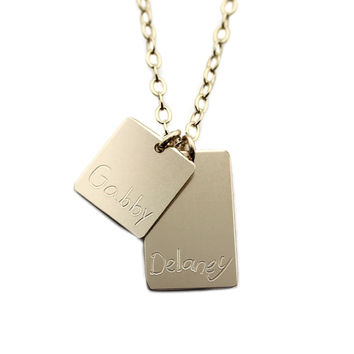 Custom Handwriting Square Bar Necklace