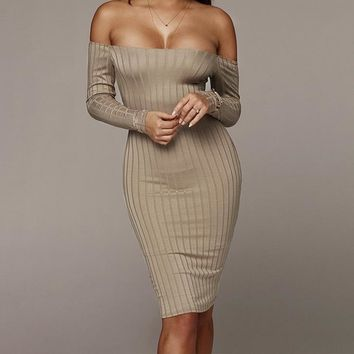 Ribbed Off-the-Shoulder Couture Dress