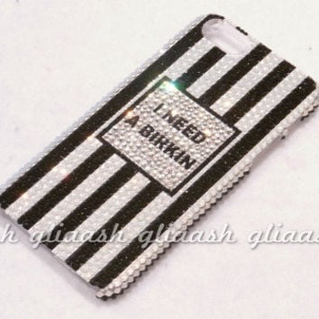 Black and White stripe Crystal case fr iPhone 5 handmade w/ Swarovski element
