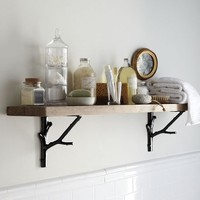 Reclaimed Wood Shelf + Black Branch Brackets