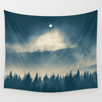 Follow the light Wall Tapestry by Tomas Hudolin