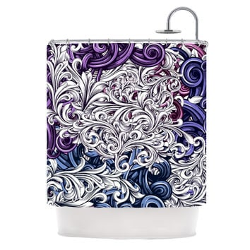 "Nick Atkinson ""Celtic Floral I"" Purple Abstract Shower Curtain"