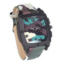 Mens Camouflage Army Style Watches Womens Mountaineering Sports Leather Strap Watch