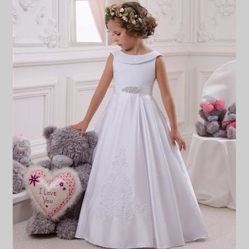 Cheap White Flower Girls Dress For Wedding Floor Length 2017 Holy First Communion Dress For Girls Appliques Cap Sleeve Customize