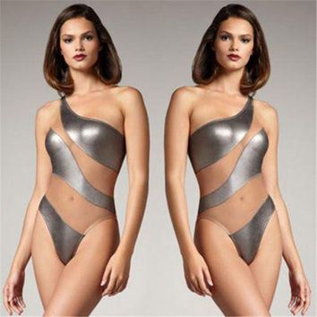 PEAPUNT Sexy Women New Hot PU Mesh Swimwear Patchwork One-Piece Monokini One Shoulder Swimsuit Bandage Vintage Beach Suit