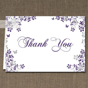 Purple & Gray Floral Thank You Card INSTANT DOWNLOAD Classic Folded Note Wedding Notecard Blank Inside Digital or Printed- Ella and George