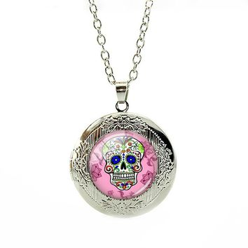 Sugar Skull Locket Pendant Necklace Handmade Day of The Dead Long Chain Jewelry
