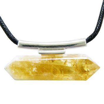 Brazilian Double Terminated Healing Crystal Point Citrine Gemstone Amulet Pendant Necklace