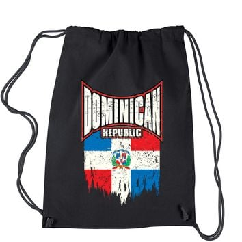 Dominican Republic Distressed Flag Drawstring Backpack