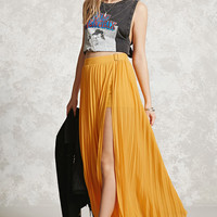 Side Slit Accordion Maxi Skirt
