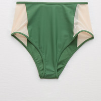 Aerie High Waisted Cheeky Bikini Bottom, Briar