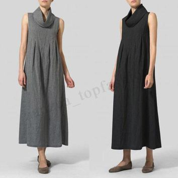 Women Sleeveless Turtleneck Long Shirt Dress Summer A-Line Tank Dress Plus Size