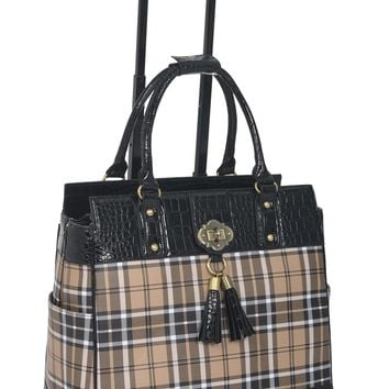 """MAD FOR PLAID"" Rolling 17.3"" Laptop Tote Holdall Weekender Bag"