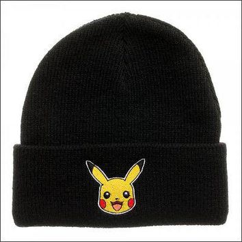 Pokemon Pikachu Cosplay Roll Slouch Single Layer Cuff Beanie Cap Hat BLACK
