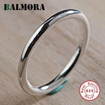 BALMORA 100% Real 925 Sterling Silver Rings for Women Lady Gift Silver Ring Simple Fashion Jewelry US Size 4.5-9 Anillos SY22281