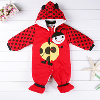New Cartoon Animal Style Cotton Padded Baby's Romper Baby Ladybug And Cows Warm Body Suit
