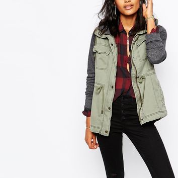 Abercrombie & Fitch Parka With Fleece Sleeve And Hood