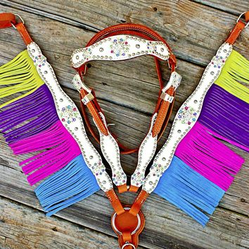 White Gator/Multi Color Fringe Browband Tack Set w/Clear- Multi color Crystal Rhinestone Conchos