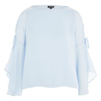 Topshop Lace-Up Bell Sleeve Top | Nordstrom