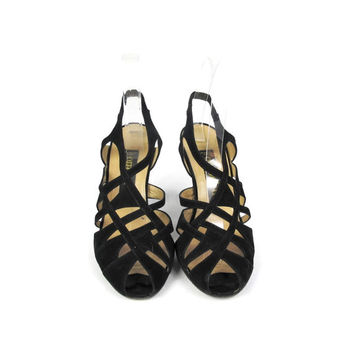 1980s Strappy Black Leather Slingback Heels Vintage Ombeline Paris Peep Toe Ankle Strap High Heels Sexy Cut Out Sandals 1950's Style (6)