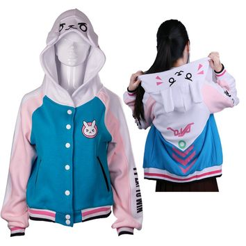 D.va OW Hoodies Cosplay DVA costume Jacket Sweatshirts Autumn Cotton Clothes Winter For Women Coat Halloween Party