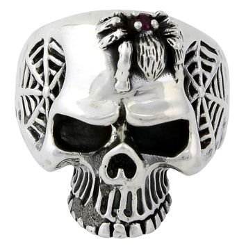 Sterling Silver Wandering Spider Skull Ring Garnet Red CZ
