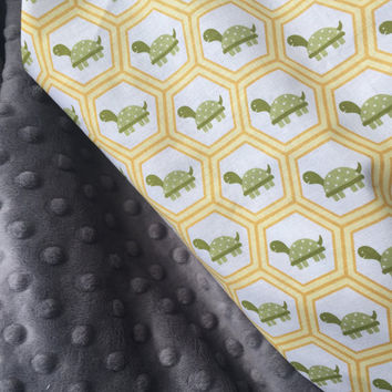 Baby Blanket, Turtle Unisex Blanket,  Minky Baby Blanket, Custom Baby Blanket, Yellow and Green