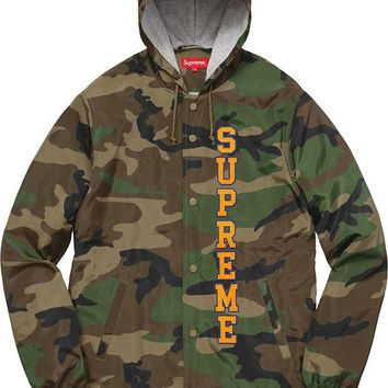 Supreme 17ss Vertical Logo Hooded Coaches Jacket S-XL - Camo