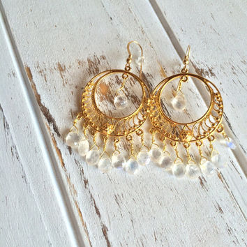 Inner Growth & Inspiration ~ Beautiful Handmade Vermeil Chandeliers w/ Wire Wrapped Rainbow Moonstone Earrings