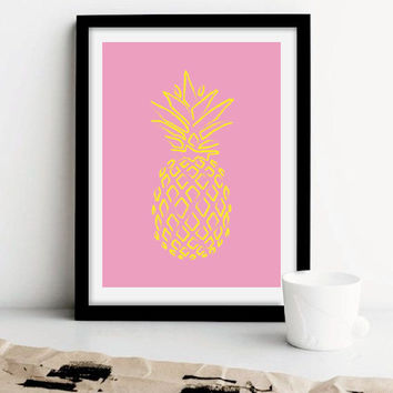 Neon Pineapple Poster, Pineapple Print, Home Decor, Wall Art, Room Decor, Minimalist Poster, Colorful Poster, Colorful Pineapple.