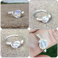 Ring Swarovski wire wrap silver plated custom siz