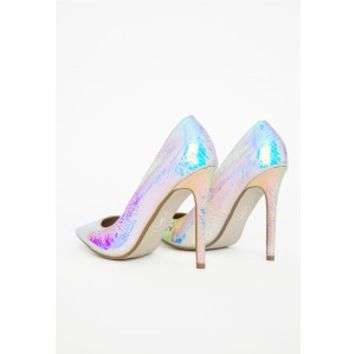 Missguided - Stiletto Heel Court Shoes White Holographic