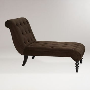 Chocolate Tufted Velvet Victoria Chaise - World Market