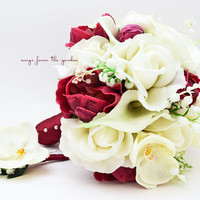 Real Touch Bouquet Lily of the Valley Peonies Orchid Roses Calla Lilies Real Touch Orchid Groom's Boutonniere - Silk Flower Bridal Bouquet