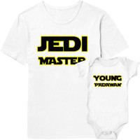 Jedi Master Young Padawan Father & Baby Shirts | Gifts for Star Wars Fans | Father and Son Matching Shirts | Father's Day Gift Ideas