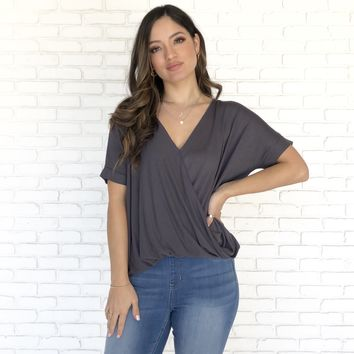 Gerry Jersey Wrap Blouse in Charcoal