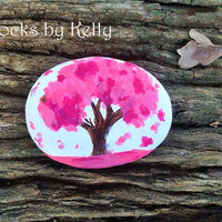 CHERRY BLOSSOM Rock Painting Painted Rock Stone Art fine art Ooak Nymphish