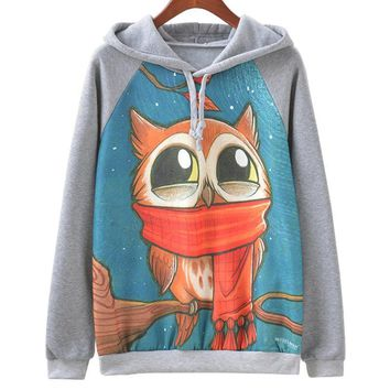 Cute Night Owl All Over Print Hoodie Sweater