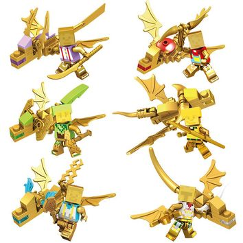 Gold Color Dragon Of  My Worlds Series Minecrafte Building Blocks Sets Kids Toy Blocks Bricks legoINGLYS Toys Gift For Children