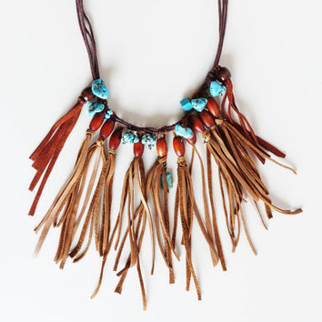 Fringe leather tribal necklace ON SALE NOW Statement bib Natural turquoise beads Bohemian turquoise bib necklace Stunning Turquoise set