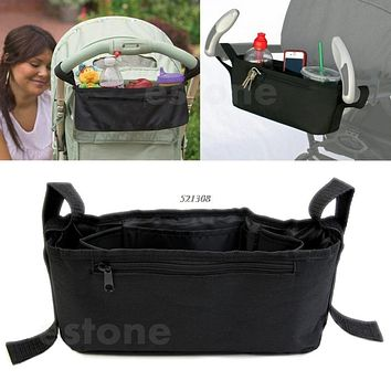 Stroller Drink Parent Tray Pram Console Organizer Double Cup Holder Phone Jogger
