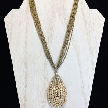 Crown Trifari Teardrop Pendant Necklace Faux Pearl Crystal Rhinestone Highlights Mid Century Bridal Wedding Jewelry Vintage Jewellery 1117