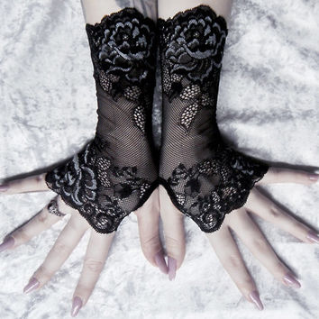 Apathy Long Lace Fingerless Gloves | Black Floral Scroll w/ Grey | Gothic Wedding Vampire Fetish Dark Burlesque Goth Bridal Noir Boudoir