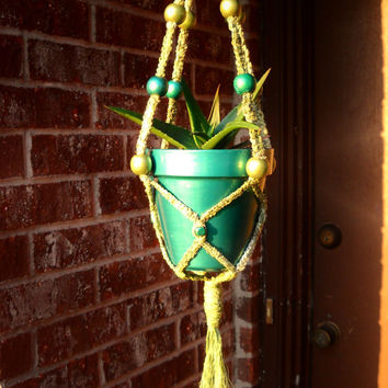 Spring SALE - unique macrame plant hanger made of natural yucca fiber - metallic teal & olive green beads - includes metallic painted pot