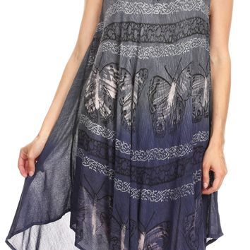 Sakkas Etta Women's Sleeveless Casual Summer Maxi Loose Fit Tie Dye Long Dress