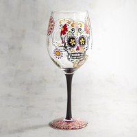 Dia de los Muertos Skull Painted Wine Glass